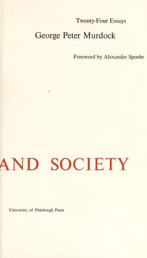 Culture and society by George Peter Murdock
