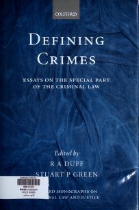 Cover of: Defining crimes : essays on the special part of the criminal law |